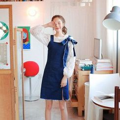 Cherryville - Tie-Shoulder Denim Jumper Dress