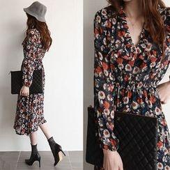 NIPONJJUYA - Wrap-Front Flower Pattern Midi Dress