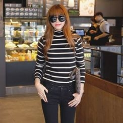 REDOPIN - Mock-Neck Stripe Top