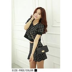UUZONE - Set: Short-Sleeve Check Top + Frill-Hem Check Skirt