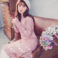 Tokyo Fashion - Long-Sleeve Midi Lace Dress