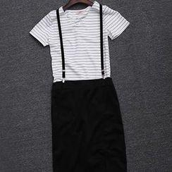 Hamoon - Set: Striped T-Shirt + Jumper Skirt