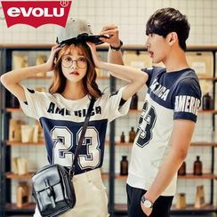 Evolu - Couple Short-Sleeve Print T-Shirt