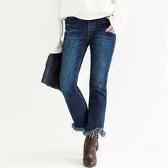 GLAM12 - Boot-Cut Washed Jeans