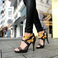 SO Central - Snake Print High Heel Sandals