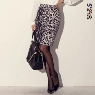 J-ANN - Leopard Pencil Skirt
