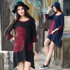 Diosa - Embroidered 3/4-Sleeve Linen Cotton Dress