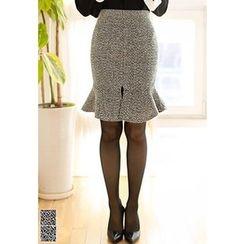 MyFiona - Slit-Front Ruffle-Hem Tweed Skirt