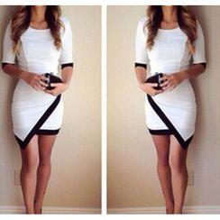 財神 - 中袖不對稱緊身連衣裙
