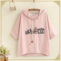 Fairyland - Embroidered Short Sleeve Hooded Top