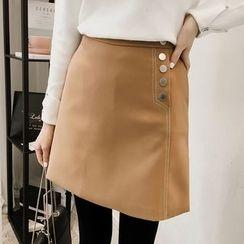 Little V - Buttoned Mini Skirt
