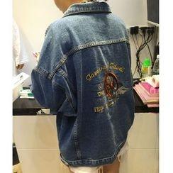 時尚麻豆家 - 刺繡牛仔夾克