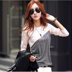 Persephone - Long-Sleeve Color Block T-Shirt