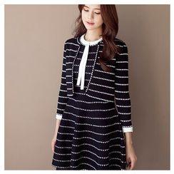 MASoeur - Set: Open-Front Cardigan + Sleeveless A-Line Dress