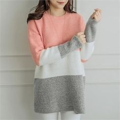 JOAMOM - Drop-Shoulder Color-Block Knit Top