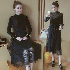 Munai - Set: Long-Sleeve Beaded Dress + Sleeveless Spaghetti-Strap Lace Dress