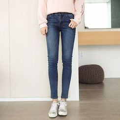 Seoul Fashion - Brushed Fleece Washed Skinny Jeans