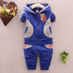 POMME - Kids Set: Letter Applique Color Panel Hooded Zip Jacket + Pants