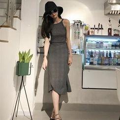 HL哈嘍妹妹 - 套裝: 條紋細肩帶上衣 + 中長裙