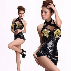 Cosgirl - Faux Leather  Party Costume