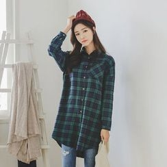 JUSTONE - Round-Hem Tartan-Plaid Shirtdress