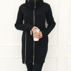 DANI LOVE - High-Neck Zip-Detail Coat