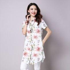 Splashmix - Short-Sleeve Floral Long Shirt