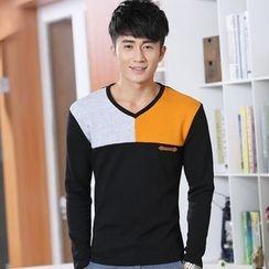 SOLER - Color Block V-Neck Fleece Lined Long-Sleeve T-Shirt