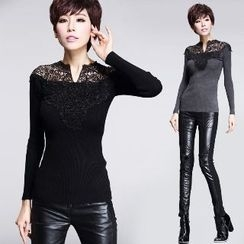 Amella - Long-Sleeve Lace-Panel Top