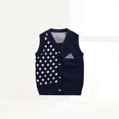 ciciibear - Kids Dotted Panel Knit Vest