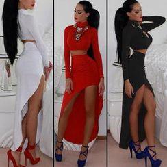 Hotprint - Set: Long-Sleeve Top + Long Skirt
