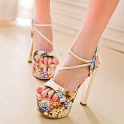 Sidewalk - Floral Print Platform Stiletto Sandals