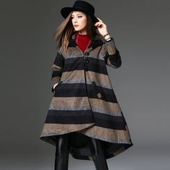 Y:Q - Striped Hooded Long Woolen Coat