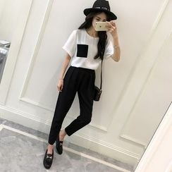 Sienne - Set: Short Sleeve Top + Tapered Pants