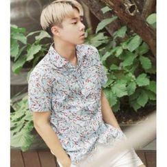 ABOKI - Notch-Lapel Floral Print Shirt