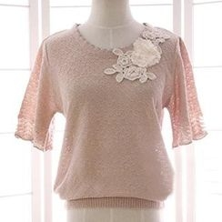 Reine - Floral Embroidered Short-Sleeve Sweater