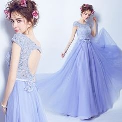 Angel Bridal - Lace-Panel Tulle Evening Dress