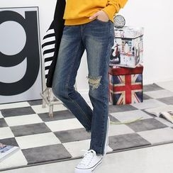 Seoul Fashion - Band-Waist Distressed Straight-Cut Jeans