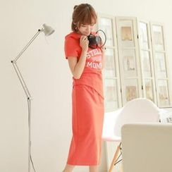Chuvivi - Set:  Letting Print Hooded T-Shirt + Maxi Skirt