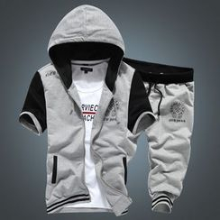 Bay Go Mall - Sports Set : Panel Hooded Short-Sleeve Jacket + Shorts
