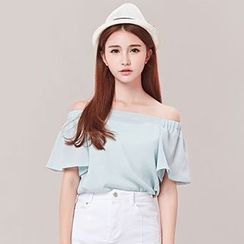 Nimill - Off Shoulder Short Sleeve Top