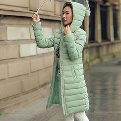Rosehedge - Pompom Hooded Long Padded Coat