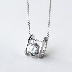 A'ROCH - 925 Sterling Silver Rhinestone Necklace