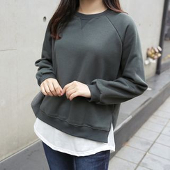 CLICK - Brushed-Fleece Raglan-Sleeve Sweatshirt