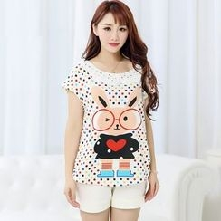 SHIRLEY - Pajama Set: Rabbit Print Dotted Short Sleeve T-Shirt + Shorts