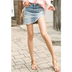 REDOPIN - Distressed Denim Skirt