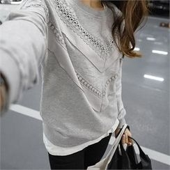 PEPER - Round-Neck Crochet-Detail T-Shirt