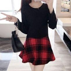 Cherry Dress - Plaid Panel Long-Sleeve Dress