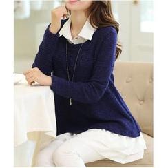 Gaia - Set: Sleeveless Chiffon Blouse + Knit Top