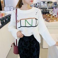 DABAGIRL - Lettering Pointelle-Knit Sweater